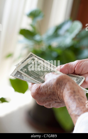 Detail of a senior woman holding US banknotes - Stock Photo