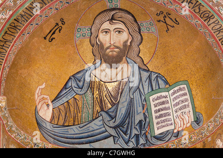 Byzantine mosaic of Christ on the ceiling of Cefalu Cathedral, Piazza Duomo, Cefalu, Sicily, Italy - Stock Photo