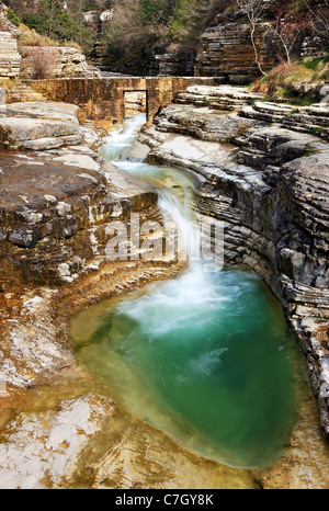 A natural pool, called 'Kolymbithres' or 'Ovidres' by the locals, close to Papingo village in Zagori region, Epirus, - Stock Photo