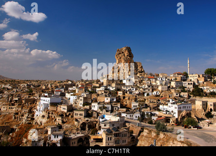 Ortahisar (it means 'middle castle') is one of the 2 natural rocky 'castles' in the region of Cappadocia. Turkey - Stock Photo