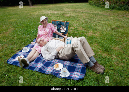 senior couple have relaxing picnic in the park c7h2dh