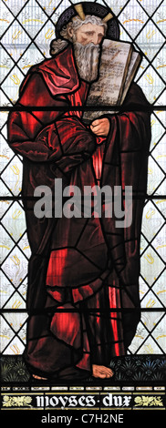 Stained glass window depicting Moses the Prophet, Brampton Church, Cumbria, England - Stock Photo