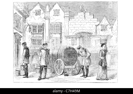 Old London water carrier from old engraving - Stock Photo