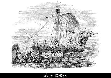 Ship of war 15th century Two decker sail warship her guns armed decks upper works forecastle quarterdeck battery - Stock Photo