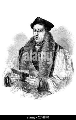 Thomas Cranmer 2 July 1489 – 21 March 1556 English Reformation Archbishop of Canterbury English Church portrait - Stock Photo