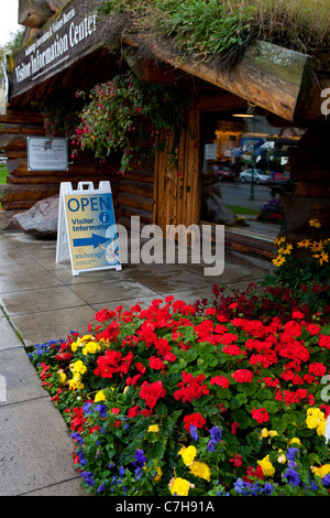 Visitor Information Center with flowers and sod roof, Anchorage, Alaska, United States of America - Stock Photo