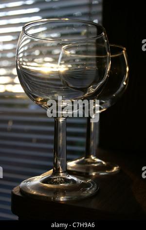 Two empty wine glasses - Stock Photo