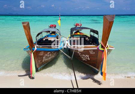 Long-Tail Boats on Ko Lipe, Thailand - Stock Photo