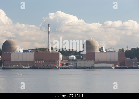 Indian Point Energy Center, a nuclear power plant on the Hudson River in Buchanan, New York. - Stock Photo