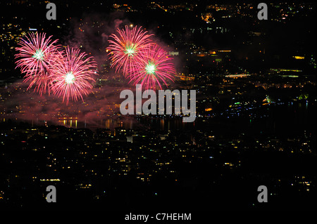 Firework burst in the night sky over Geneva. Taken from a high point (the nearby Saleve mountain) looking down on - Stock Photo