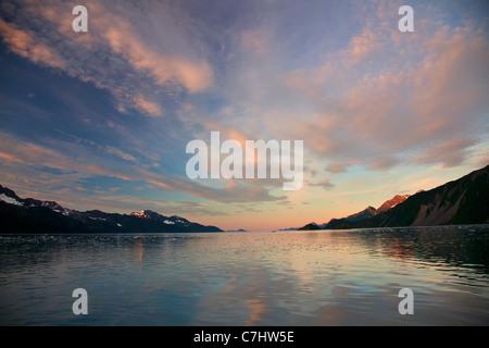 Sunrise on Aialik Glacier and Aialik Bay, Kenai Fjords National Park, near Seward, Alaska. - Stock Photo