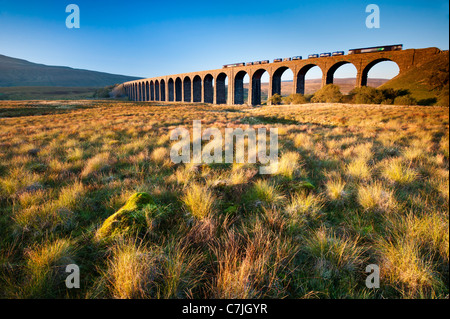 Fraight train crossing the Ribblehead Viaduct, Yorkshire Dales, England, UK - Stock Photo