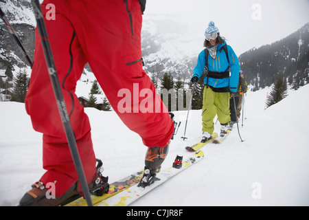 Couple cross-country skiing - Stock Photo