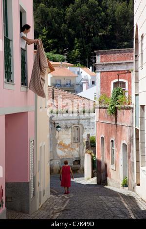 Portugal, Algarve, Monchique, Backstreet & Local People - Stock Photo