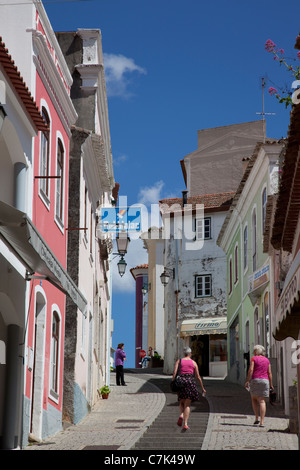 Portugal, Algarve, Monchique, Backstreet & People - Stock Photo