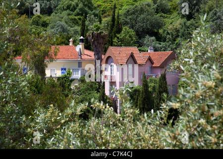 Portugal, Algarve, Caldas De Monchique, View over Village - Stock Photo