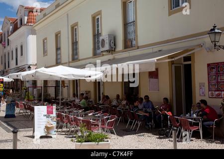 Portugal, Algarve, Silves, Cafes - Stock Photo