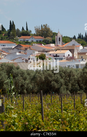 Portugal, Algarve, Pademe, View of Village From Vineyard - Stock Photo
