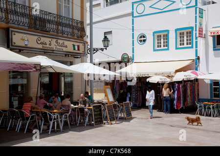 Portugal, Algarve, Albufeira, Shops & Restaurant - Stock Photo