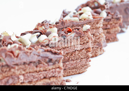 Chocolate cakes, Fresh wonderfully moist brownie with a deep fudgy chocolate flavor - Stock Photo