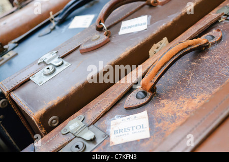 Old fashioned leather luggage cases - Stock Photo