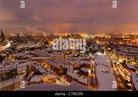 City center, snow, city, panorama, Hamburg, Germany, Europe - Stock Photo