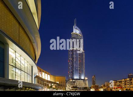 Luxury hotel THE ADDRESS, 63 floors, in Dubai Business Bay, beside Dubai Mall, Downtown Dubai, Dubai, United Arab - Stock Photo