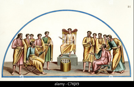 Illustration from the catacombs of St Nereus & Achilleus of Jesus Christ as teacher of the world surrounded by the - Stock Photo