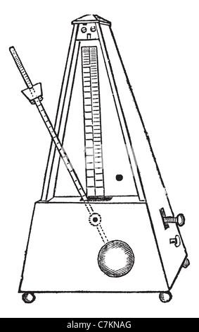 Metronome isolated on white, vintage engraved illustration. Trousset encyclopedia (1886 - 1891). - Stock Photo