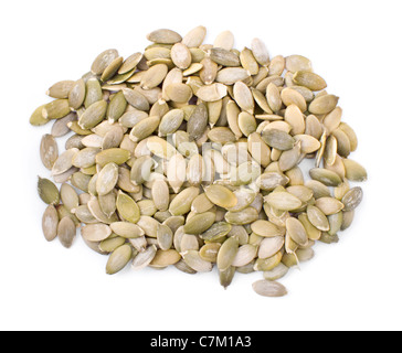 Heap of pumpkin seeds isolated on white background - Stock Photo
