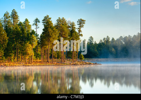 One of the lakes on the Mogollon Rim of central Arizona at around 7700 feet it's the place to be in the summer. - Stock Photo