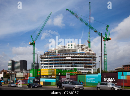 Under Construction _The Glass Walled Building of the new Co-operative Group's head office, One Angel Square  in - Stock Photo