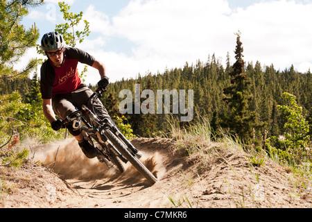 Mountain biking in Carcross, Yukon Territory, Canada. - Stock Photo
