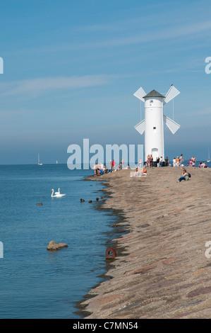 Navigation Beacon 'Windmill',  Swinoujscie, Baltic Sea, West Pomerania, Poland, Europe - Stock Photo
