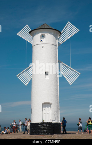 Navigation beacon in the form of a windmill, Swinoujscie, Baltic Sea, West Pomerania, Poland, Europe - Stock Photo