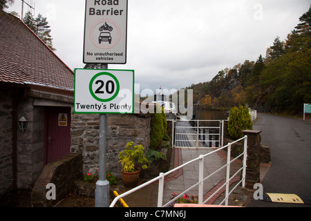 Twenty is plenty, twenty's plenty speed limit road sign as seen all over Scotland this one at Loch Katrine slow - Stock Photo