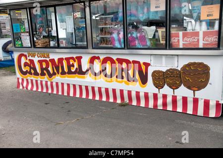 Caramel Corn Vendor at county food fair Michigan USA - Stock Photo