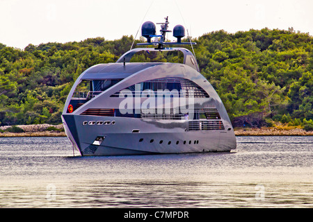 Modern design hi tech luxury yacht anchored in Mali Losinj bay, Croatia - Stock Photo