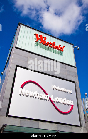 Welcome sign to Westfield Stratford city - Stock Photo