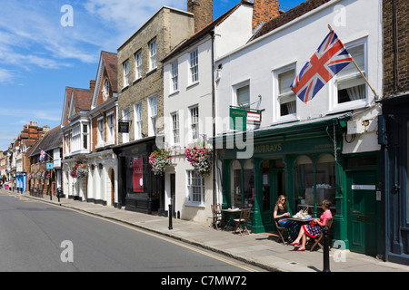 Cafe and shops on the High Street in the town centre, Eton, Berkshire, England, UK - Stock Photo