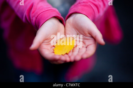 A young girl cupping a yellow autumn leaf in her hands. - Stock Photo