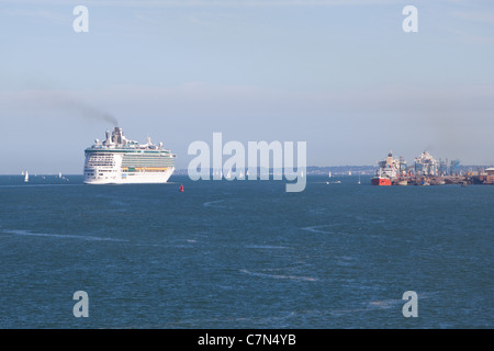 Port of Southampton looking down the Solent at a cruise ship passing  Fawley teminal. - Stock Photo