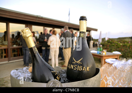 Summer mood with champagne in the Sansibar, luxury, lifestyle, Rantum, Sylt Island, Schleswig-Holstein, Germany, - Stock Photo