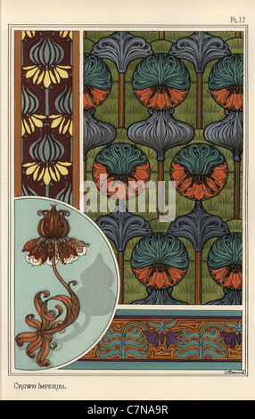 Crown imperial flower, Fritillaria imperialis, in wallpaper and fabric patterns, and as design for a wrought iron - Stock Photo