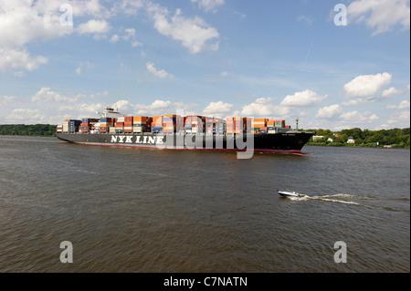 NYK VIRGO super freighter entering port, Finkenwerder, Port of Hamburg, Germany, Europe - Stock Photo