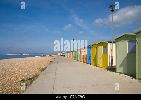 beach huts at seaford on the sussex coast - Stock Photo