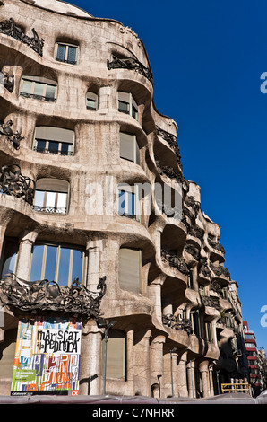 Casa Milà, designed by Antoni Gaudí, 1912, Barcelona, Catalonia, Spain, Europe - Stock Photo