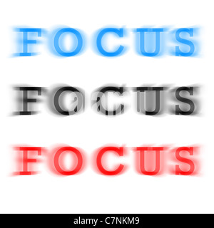 The word focus in three different color variations with a blur effect. - Stock Photo