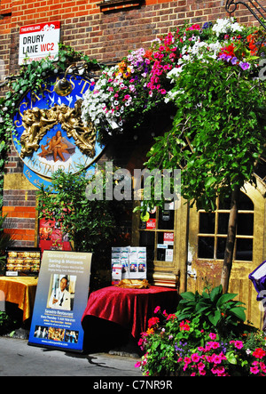 Colorful exterior of the Sarastro restaurant in Drury Lane, the heart of Theatreland in London, England. - Stock Photo