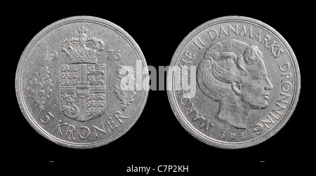 Danish 5 krone coin from 1976 isolated on black background. - Stock Photo
